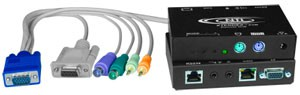 PS/2 KVM + two-way audio + RS232 extender via CAT5, skew compensation, up to 1,000 feet (305 meters)